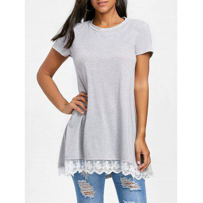 T-shirt Lunga A Tunica All'uncinetto Floreale