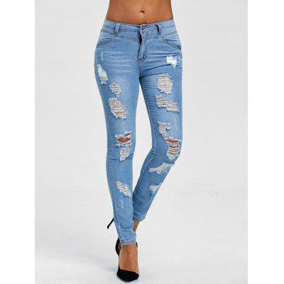 Fitted Distressed Jeans