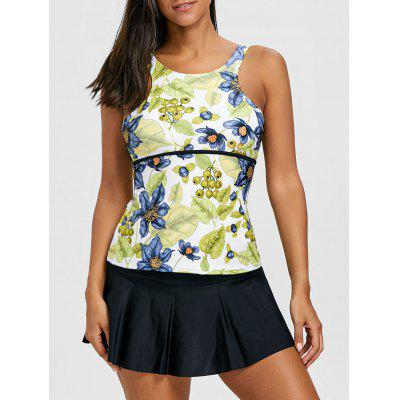 Floral Print Top with Skirted Briefs Tankini Set