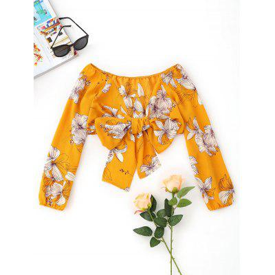 Wrap Floral Bowknot Cropped Top