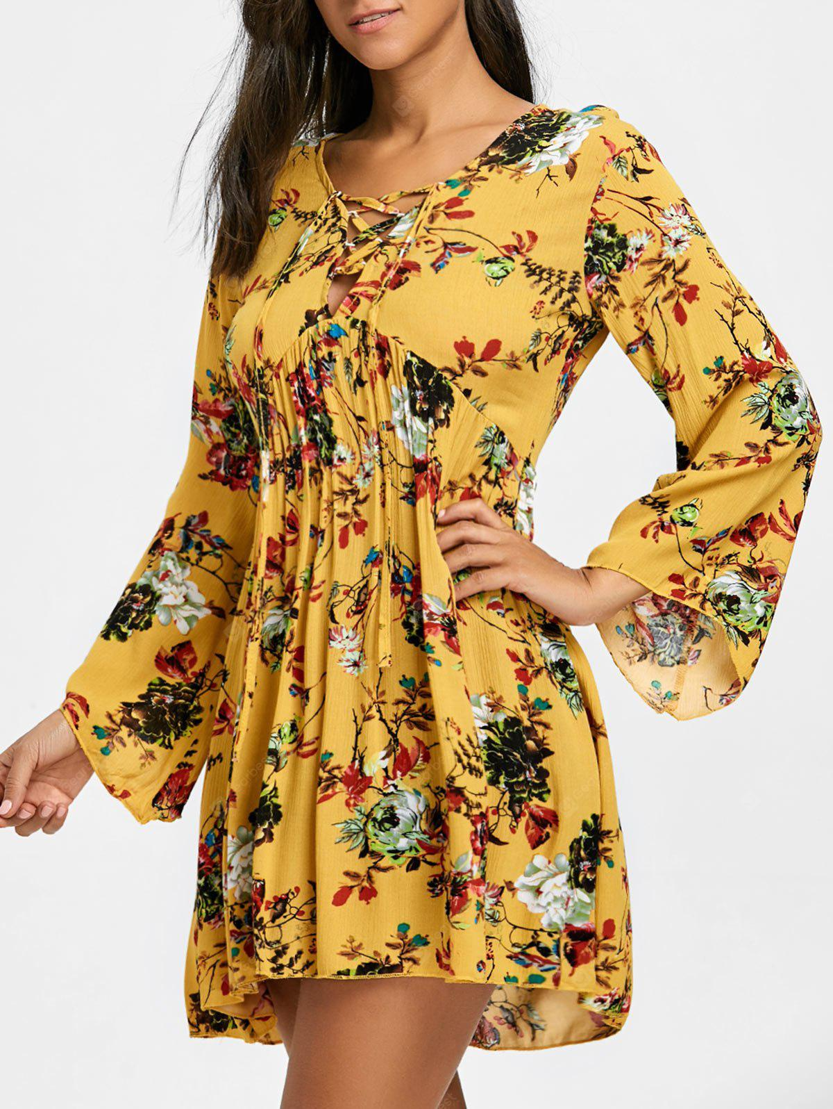 Lace Up Floral Print Empire Waist Mini Dress