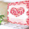 Valentine's Day Roses Heart Love Pattern Wall Tapestry - PINK