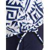 Drawstring Side Printed Tankini Swimsuit - DEEP BLUE