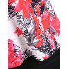 Palm Leaf Floral Print Top with Skirted Briefs - FLORAL