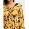 Lace Up Floral Print Empire Waist Mini Dress - YELLOW
