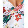 Empire Waist Flower Printed Faux Wrap Tankini - FLORAL