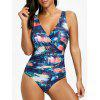 Backless Surplice Printed Swimsuit - FLORAL