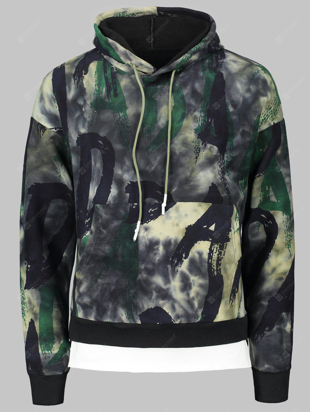 Letters and Tie Dyed Print Hoodie with Drawstring