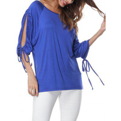 T-shirt manica lunga con coulisse a fessura
