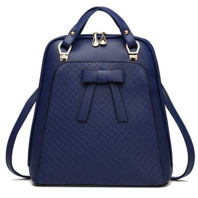 Bowknot Quilted PU Leather Backpack