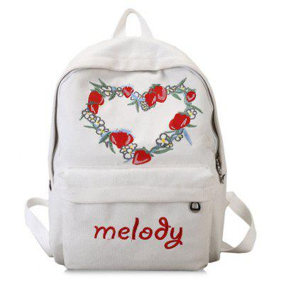 Strawberry Heart Pattern Letter Canvas Backpack