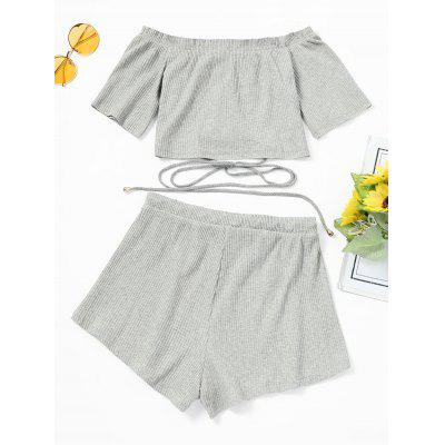 Off Shoulder Lace Up Top and Shorts SetWomens Clothing<br>Off Shoulder Lace Up Top and Shorts Set<br><br>Closure Type: Drawstring<br>Embellishment: Lace up,Ruffles<br>Fit Type: Regular<br>Front Style: Flat<br>Material: Polyester<br>Neckline: Off The Shoulder<br>Occasion: Casual, Going Out<br>Package Contents: 1 x Top  1 x Shorts<br>Pattern Type: Solid<br>Waist Type: Mid<br>Weight: 0.2800kg