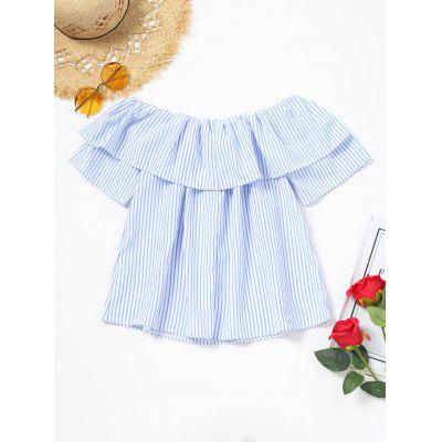 Flower Appliques Flounce Striped BlouseBlouses<br>Flower Appliques Flounce Striped Blouse<br><br>Collar: Off The Shoulder<br>Embellishment: Appliques<br>Material: Polyester<br>Occasion: Casual<br>Package Contents: 1 x Blouse<br>Pattern Type: Floral, Striped<br>Shirt Length: Regular<br>Sleeve Length: Short<br>Style: Casual<br>Weight: 0.1950kg