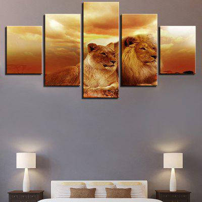 A Couple of Lions Printed Canvas Wall Art Paintings