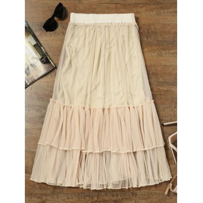 Tiered Ruffle Mesh Maxi SkirtSkirts<br>Tiered Ruffle Mesh Maxi Skirt<br><br>Length: Ankle-Length<br>Material: Cotton, Polyester<br>Package Contents: 1 x Skirt<br>Pattern Type: Solid<br>Silhouette: A-Line<br>Weight: 0.3700kg<br>With Belt: No
