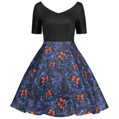 Butterfly Print Backless Vintage Flare Dress
