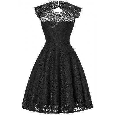 Open Back Flare Cocktail Lace Dress