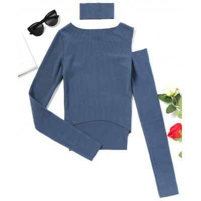 Choker Cold Shoulder High Low Knitted Top