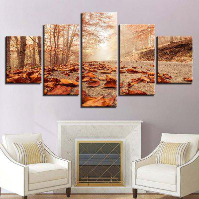 Fallen Leaves Forest Pathway Printed Canvas Wall Art Paintings