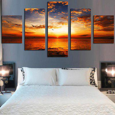 Sunset Seascape Printed Unframed Canvas Wall Art Paintings