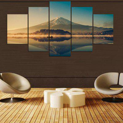 Lakeside Mountains Printed Unframed Canvas Wall Art Paintings