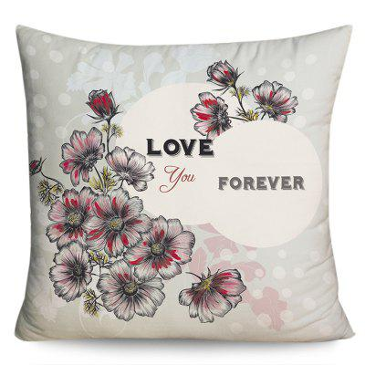 Love You Forever Flower Print Valentine's Day Pillowcase