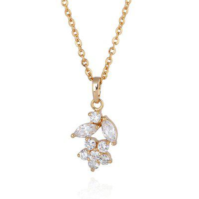Simple Rhinestone Floral Collarbone Necklace