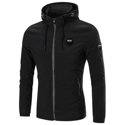 Full Zip Patches Hooded Jacket