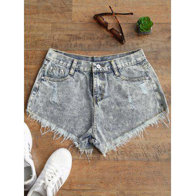 Ripped Frayed Hem Bleach Wash Jean Shorts pearl beaded ripped rolled hem jeans