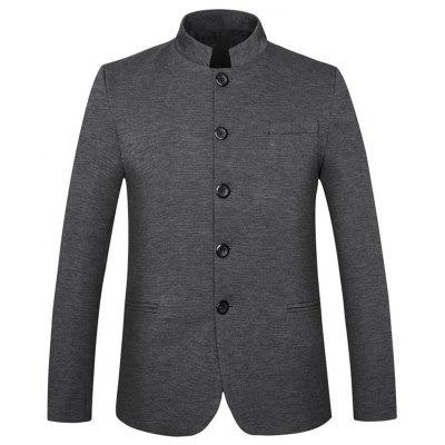 Mandarin Collar Edging Single Breasted Blazer