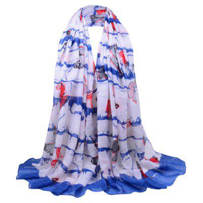 Simple Flying Butterfly Printed Voile Scarf
