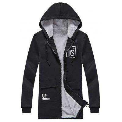 Graphic Pockets Longline Fleece Zip Up Hoodie