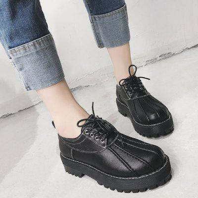 Chunky Heel Faux Leather Casual ShoesWomens Flats<br>Chunky Heel Faux Leather Casual Shoes<br><br>Closure Type: Lace-Up<br>Flat Type: Ballet Flats<br>Gender: For Women<br>Heel Height Range: Low(0.75-1.5)<br>Occasion: Casual<br>Package Contents: 1 x Casual Shoes (pair)<br>Pattern Type: Solid<br>Season: Spring/Fall<br>Shoe Width: Medium(B/M)<br>Toe Shape: Round Toe<br>Toe Style: Closed Toe<br>Upper Material: PU<br>Weight: 1.2000kg