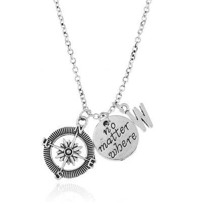 Valentine's Day Letter Cameo Compass Pendant Necklace