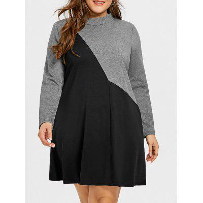 Buy BLACK AND GREY 3XL Color Block Plus Size Long Sleeve A-line Dress for $34.13 in GearBest store