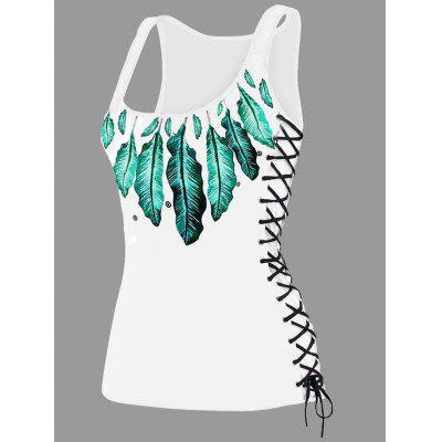 Feather Print Lace Up U Neck Tank Top