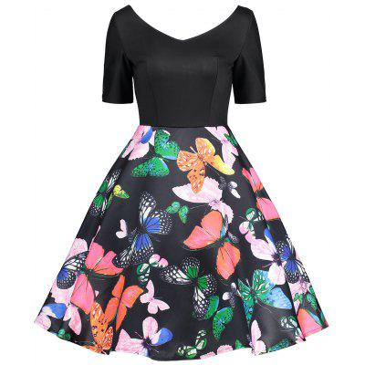 Vintage Various Butterflies Print Flare Dress