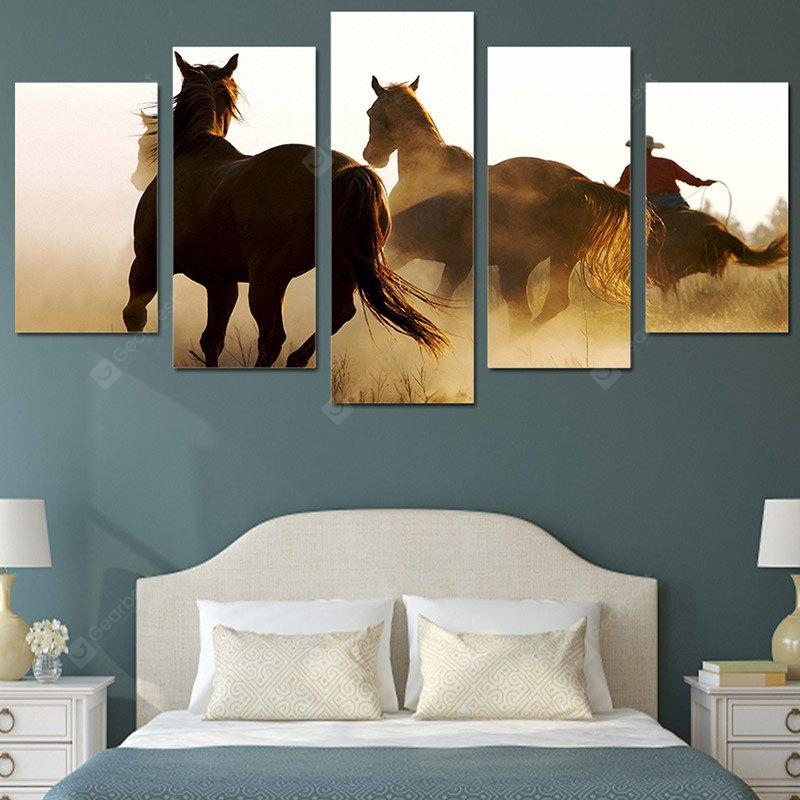 Running Horse in Sunset Printed Canvas Split Wall Art Paintings
