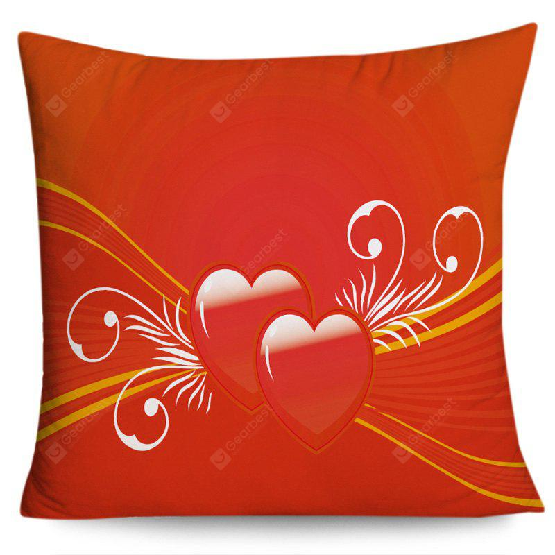 Valentine's Day Double Hearts Pattern Throw Pillow Case