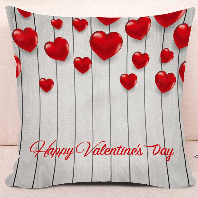 Happy Valentine's Day Love Heart Print Square Pillow Case