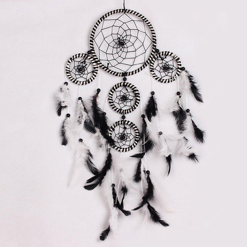 Circles Black and White Feather Hanging Handmade Dreamcatcher