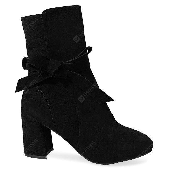 Bowknot Faux Suede Mid-calf Boots
