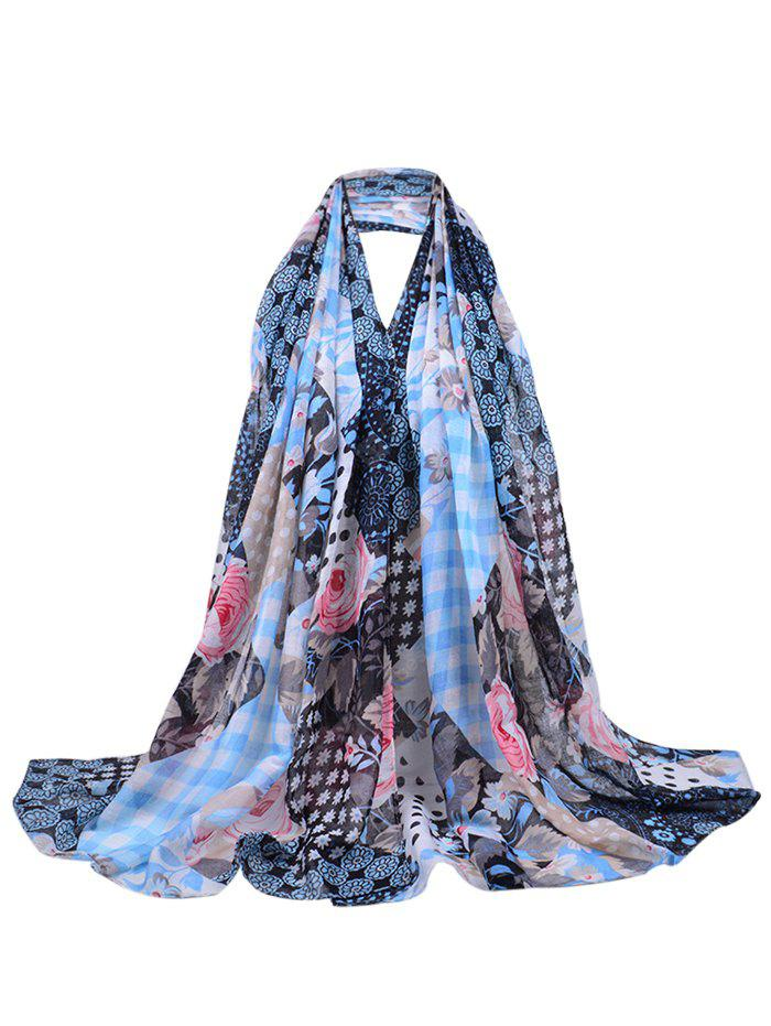 Vintage Floral Blooms Printed Long Sheer Scarf
