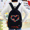 Strawberry Heart Pattern Letter Canvas Backpack - BLACK