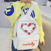 Strawberry Heart Pattern Letter Canvas Backpack - WHITE