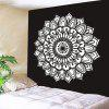 Wall Hanging Mandala Flower Printed Tapestry - WHITE AND BLACK