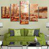 Fallen Leaves Forest Pathway Printed Canvas Wall Art Paintings - BROWN