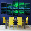 Snow Mountain Aurora Printed Canvas Split Wall Art Paintings - GREEN