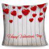 Happy Valentine's Day Love Heart Print Square Pillow Case - GRAY
