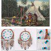Turquoise Wooden Bead Feather Hanging Handmade Dreamcatcher - BROWN